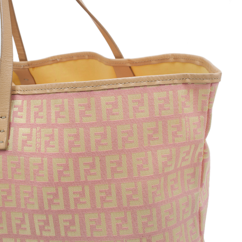 Fendi Pink Gold Zucchino Roll Tote Bag
