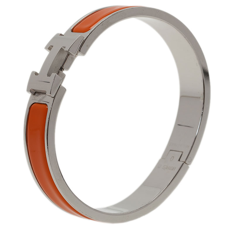 Hermes Clic Clac H Orange Enamel Palladium Plated Bracelet