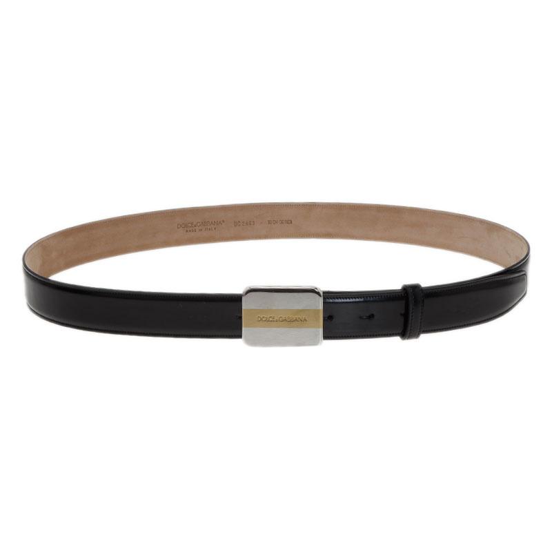 Dolce and Gabbana Black Leather Logo Plaque Belt 90CM