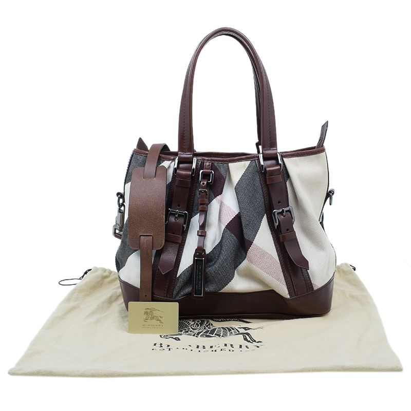 Burberry Brown Mega Check Canvas and Leather Lowry Tote
