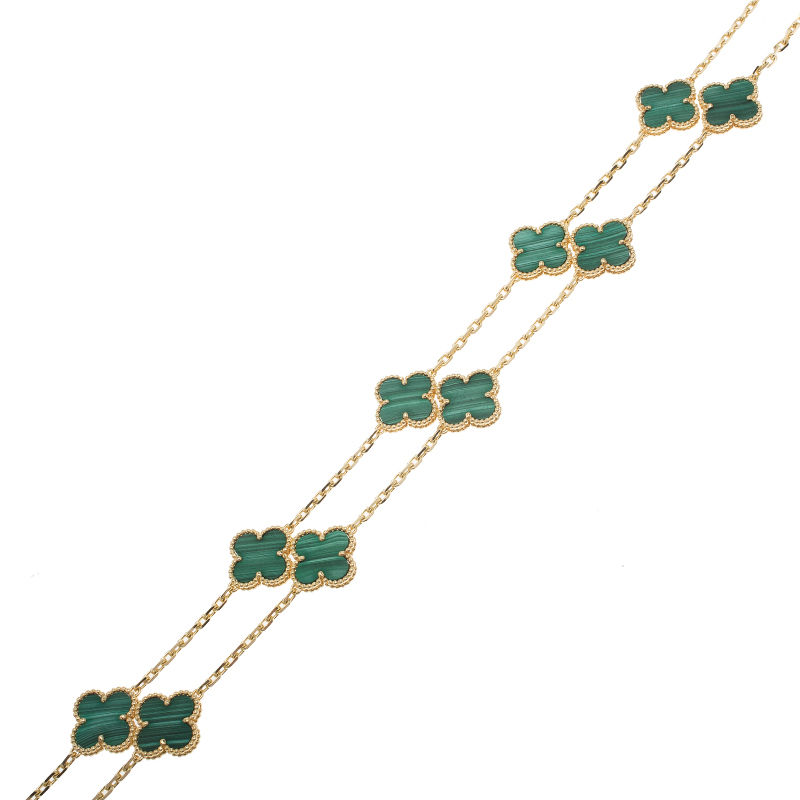 Van Cleef & Arpels Vintage Alhambra Malachite Yellow Gold 20 Motifs Long Necklace