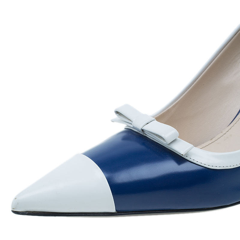 Prada Two Tone Leather Bow Pointed Toe Pumps Size 38