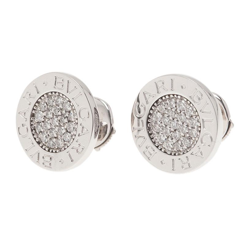 Bvlgari Bvlgari Diamond Pavè 18K White Gold Stud Earrings