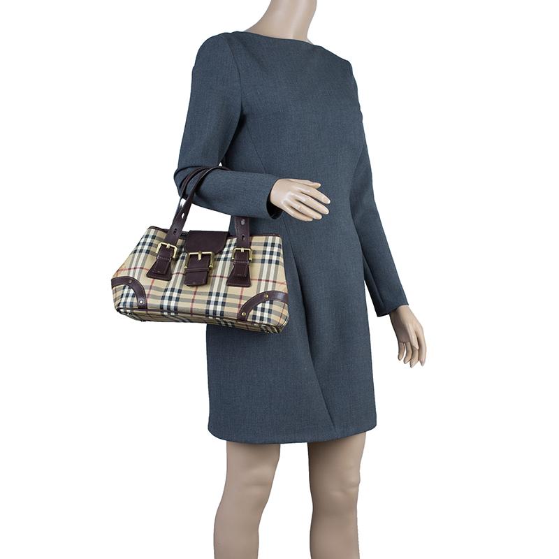 Burberry Beige/Brown Classic Check Satchel Bag