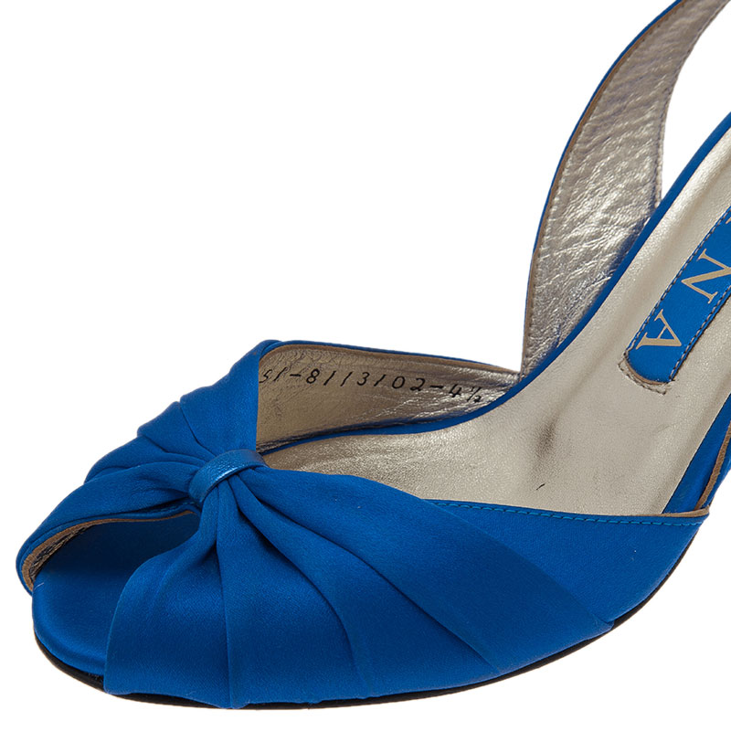 Gina Blue Satin Slingback Sandals Size 37.5