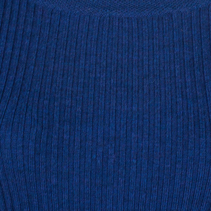 Tory Burch Navy Sienna Silk And Cashmere-Blend Peplum Sweater M