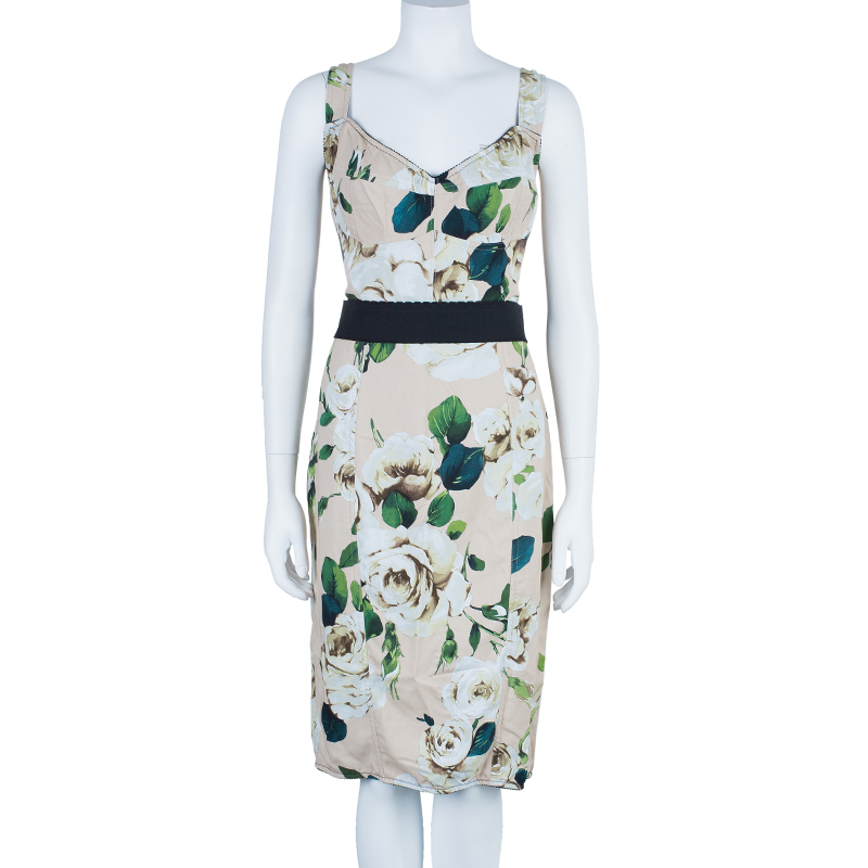 Dolce and Gabbana Floral Print Fitted Dress L