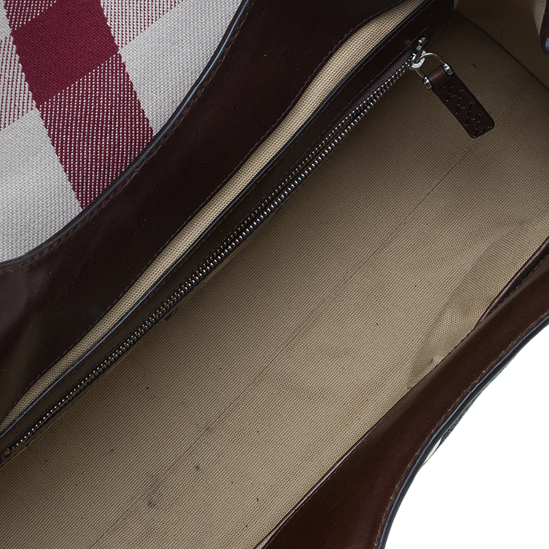 Burberry Brown Leather and Canvas Mega Check Satchel Bag