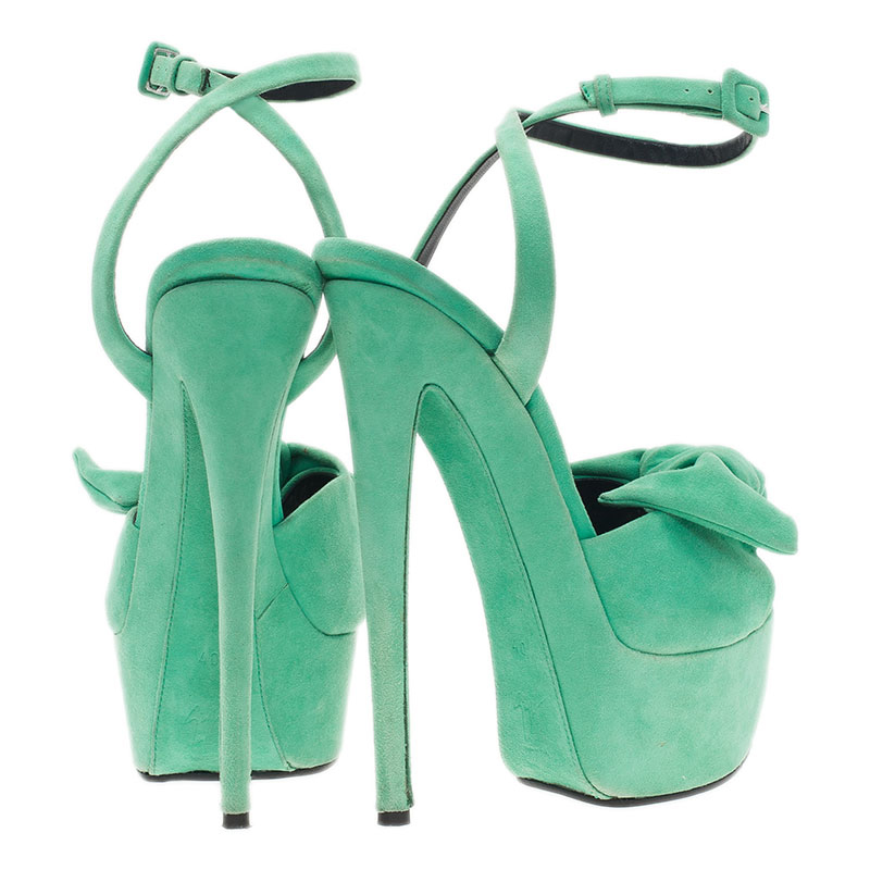 Giuseppe Zanotti Green Suede Bow Ankle Strap Platform Sandals Size 40