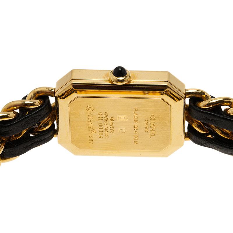 Chanel Black Gold-Plated Steel Première Women's Wristwatch 20MM