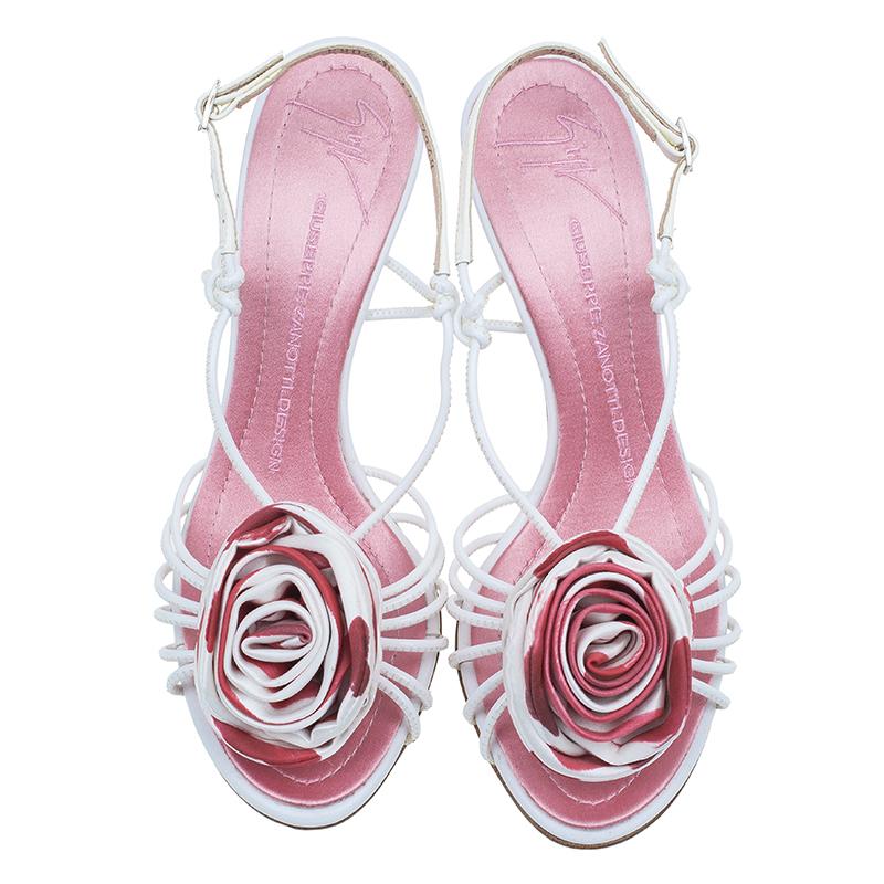 Giuseppe Zanotti Pink Satin Rose Detail Slingback Sandals Size 37