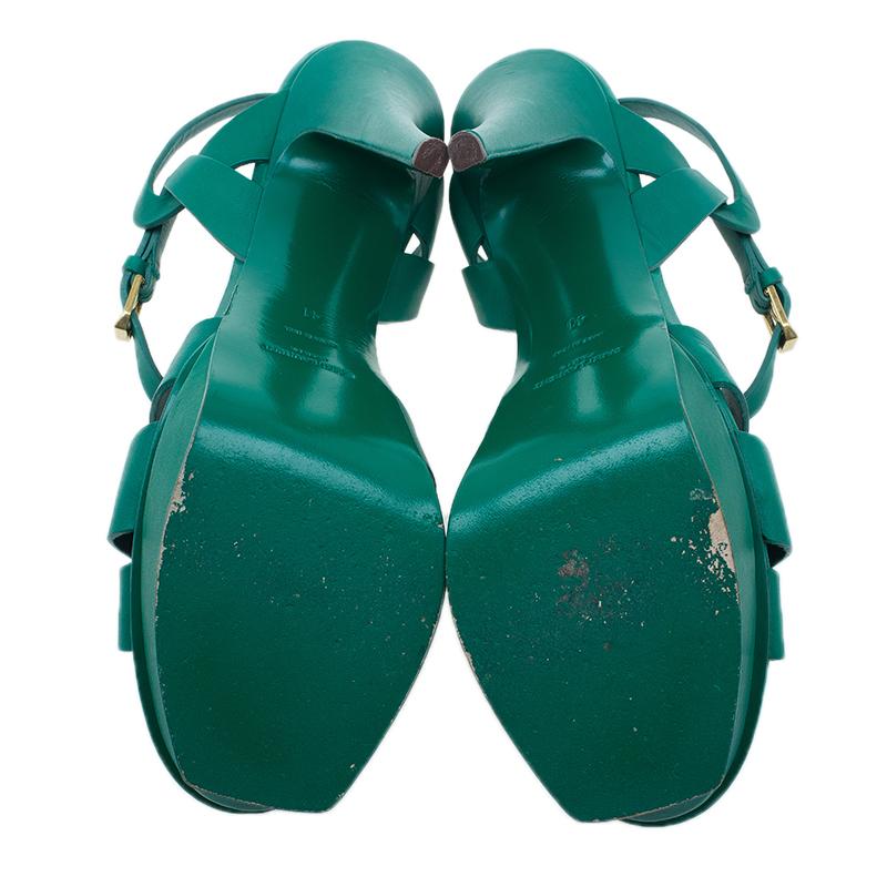 Saint Laurent Paris Green Tribute Sandals Size 41