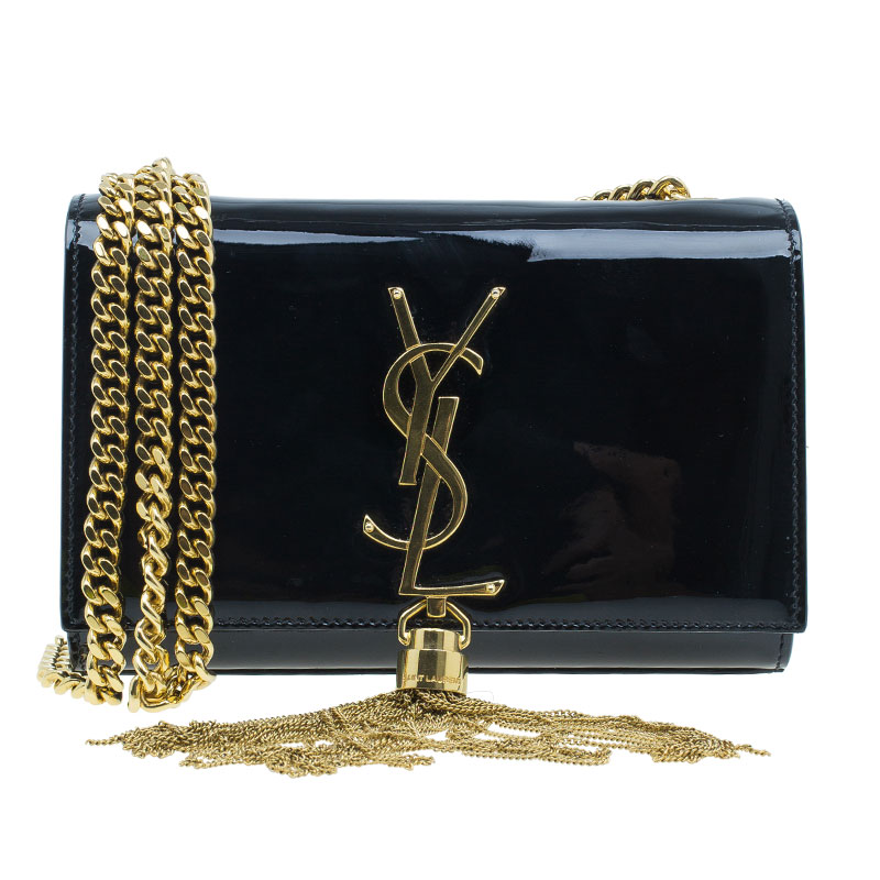 Saint Laurent Paris Black Patent Leather Small Tassel Crossbody Bag