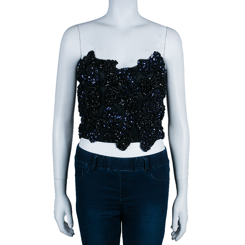 Saint Laurent Paris Blue Sequin Strapless Crop Top M