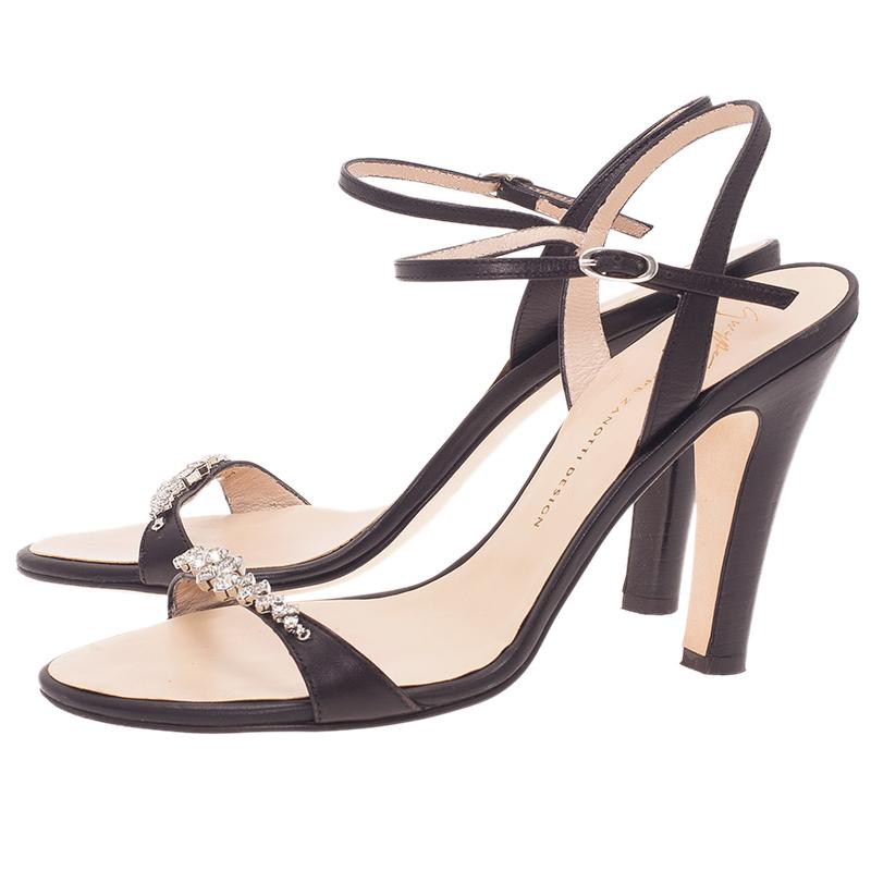Giuseppe Zanotti Grey Jeweled Suede Sandals Size 38.5