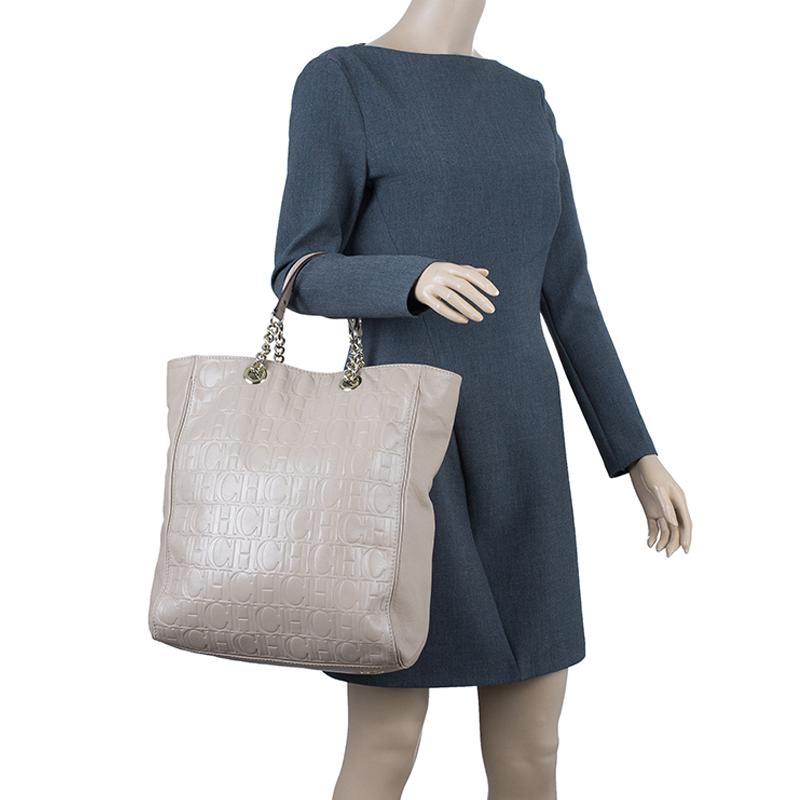 Carolina Herrera Beige Leather Large Shopping Tote