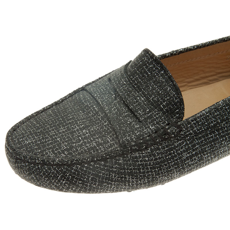 Tod's Grey Glitter Leather Penny Loafers Size 35