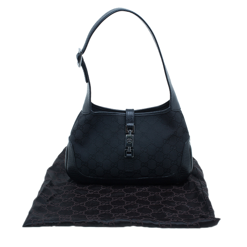 Gucci Black Canvas Small Signature GG Jackie Hobo Bag