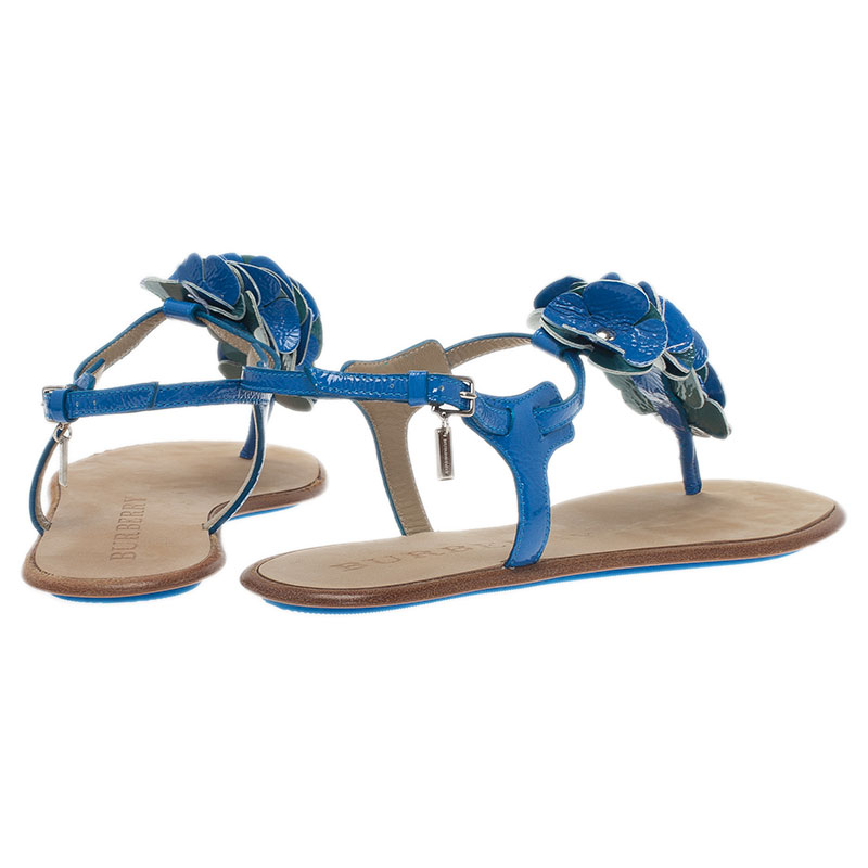 Burberry Blue Leather Flower Detail Ankle Strap Flat Sandals Size 38
