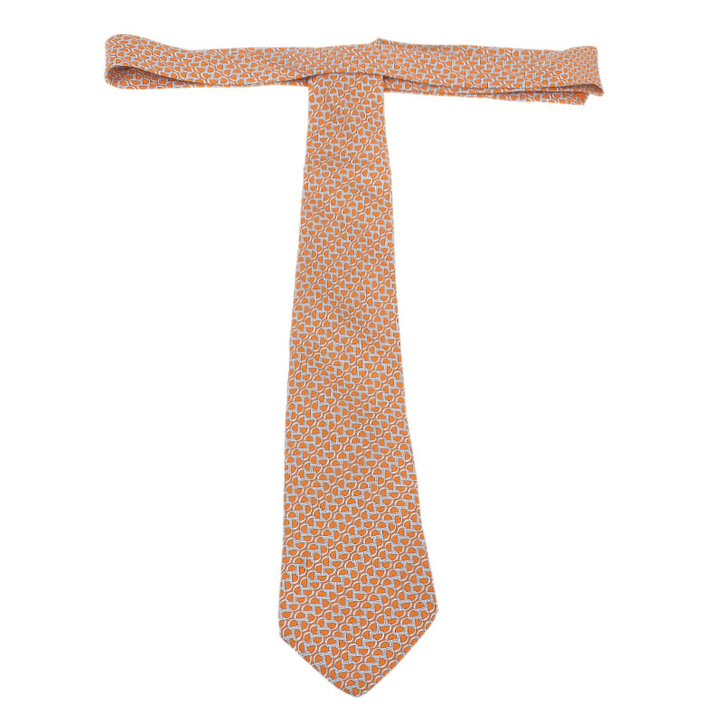 Hermes Orange Silk Printed Tie