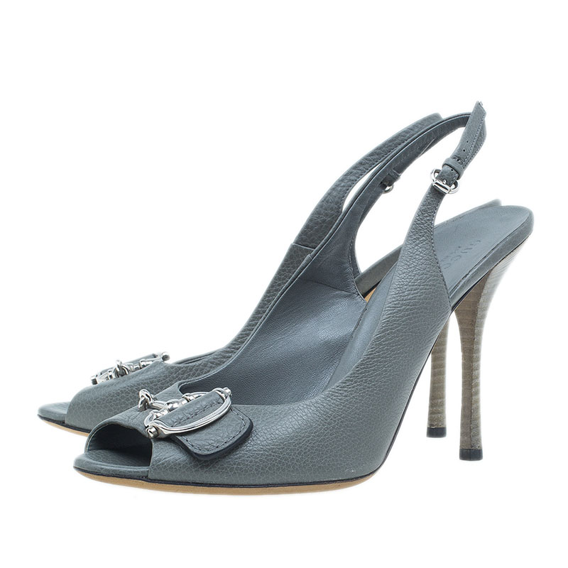 Gucci Grey Leather Techno Horsebit Slingback Sandals Size 40