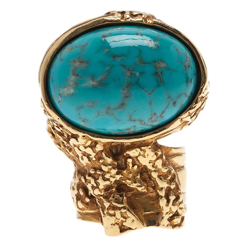 Saint Laurent Paris Arty Turquoise Gold Tone Ring Size 49