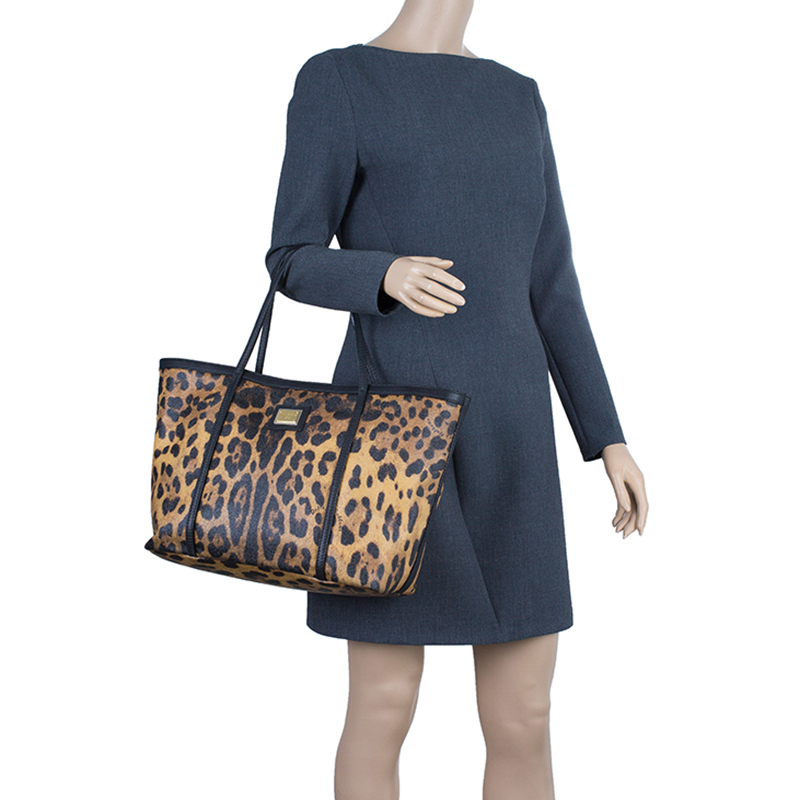 Dolce and Gabbana Black Leopard Print Coated Canvas Tote Bag