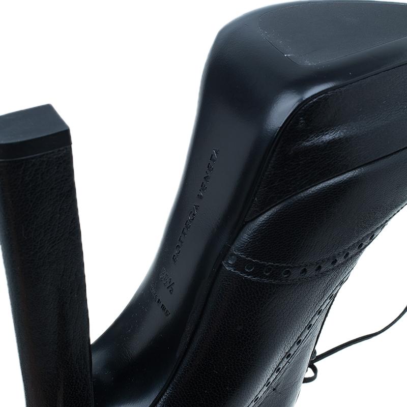 Bottega Veneta Black Brogue Leather Ankle Boots Size 38.5