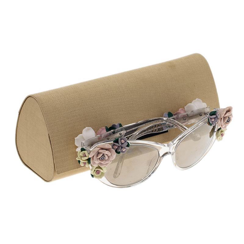 Dolce and Gabbana DG 4180 Floral Embellished Cat Eye Sunglasses