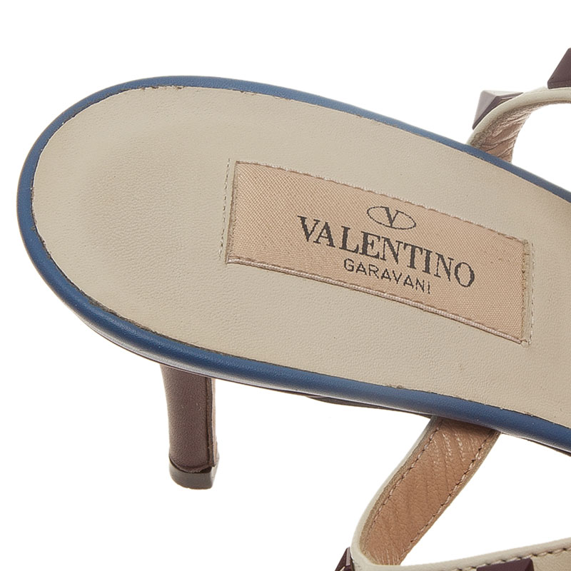 Valentino Blue and Beige Leather Rockstud Sandals Size 41