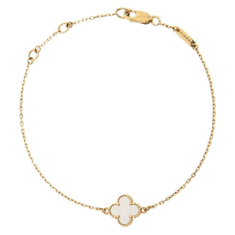 Van Cleef & Arpels Sweet Alhambra Mother of Pearl Yellow Gold Bracelet