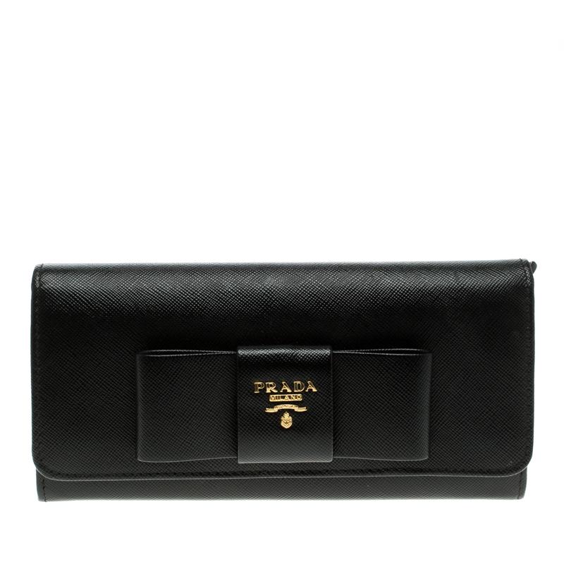 14dc082c7b9808 34657 5bb52; inexpensive prada black saffiano fiocco leather bow continental  wallet. nextprev. prevnext 67398 d01d6