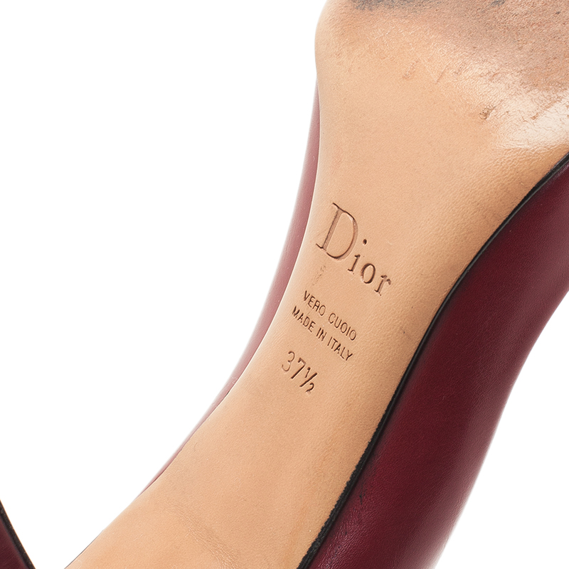 Dior Red Leather Buckle Detail Pointed Toe Pumps Size 37.5