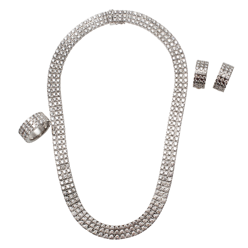 Chopard Three Row Ice Cube Diamonds and White Gold Necklace, Earrings and Ring Set