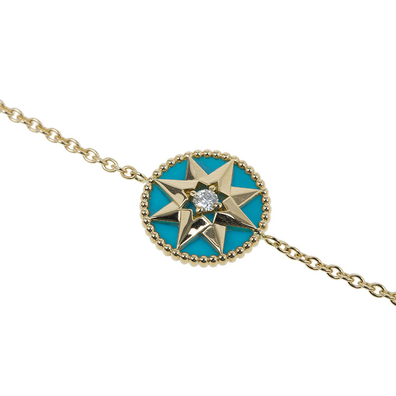 Dior Rose Des Vents Diamond Turquoise Yellow Gold Bracelet