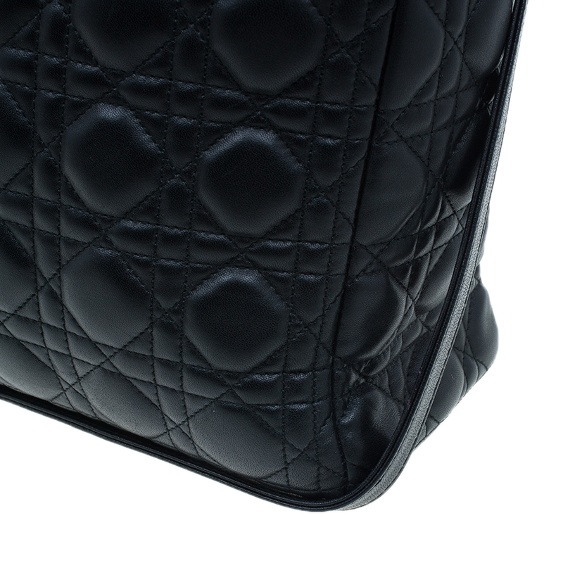 Dior Black Cannage Quilted Lambskin Large Lady Dior Bag
