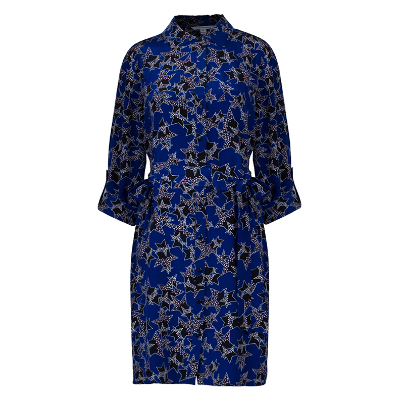 Diane von Furstenberg Blue Belted Star Prita Dress L