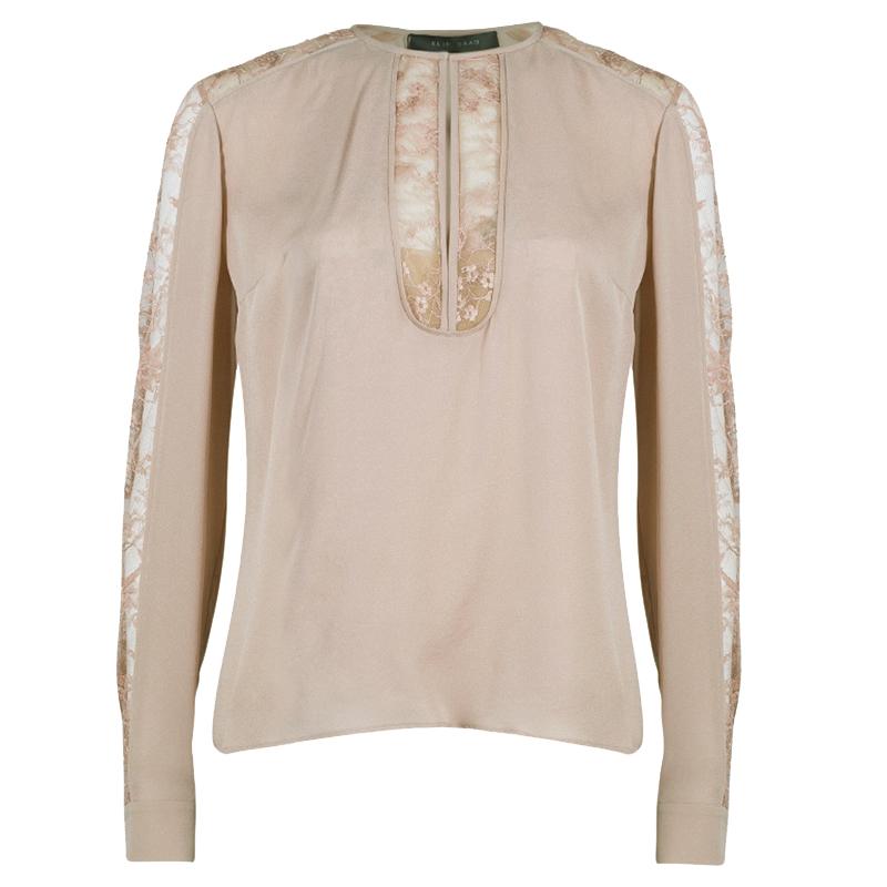 Elie Saab Nude Silk Lace-Detail Full Sleeve Top M