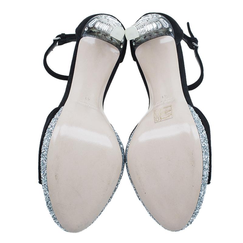 Miu Miu Black Suede Crystal Heel Ankle Strap Sandals Size 41
