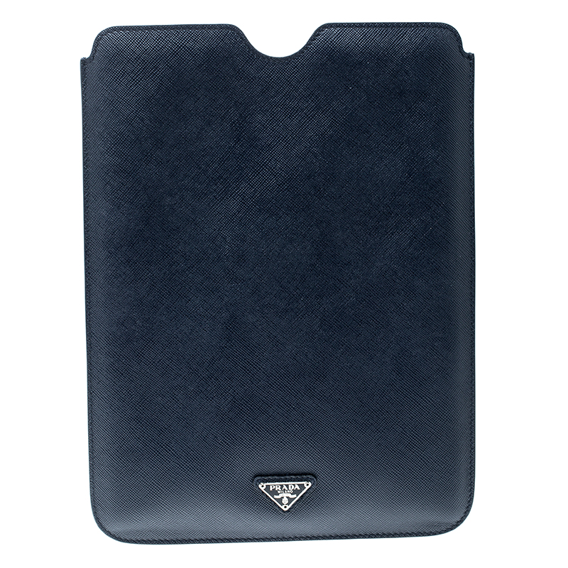 Купить со скидкой Prada Navy Blue Saffiano Leather iPad Case
