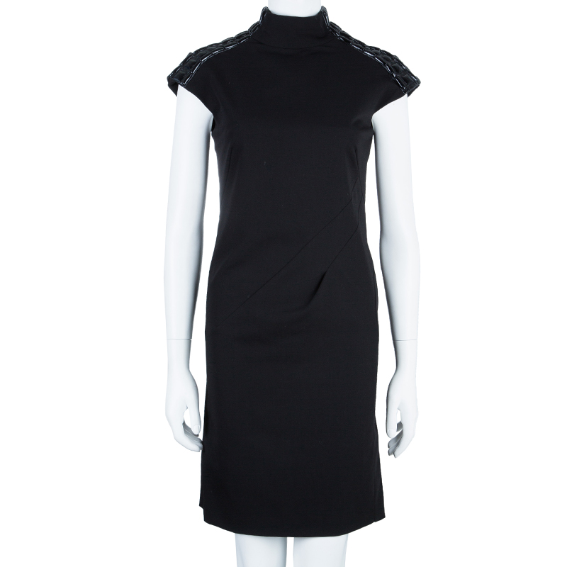 Philosophy di Alberta Ferretti Black Shoulder Detail Dress M