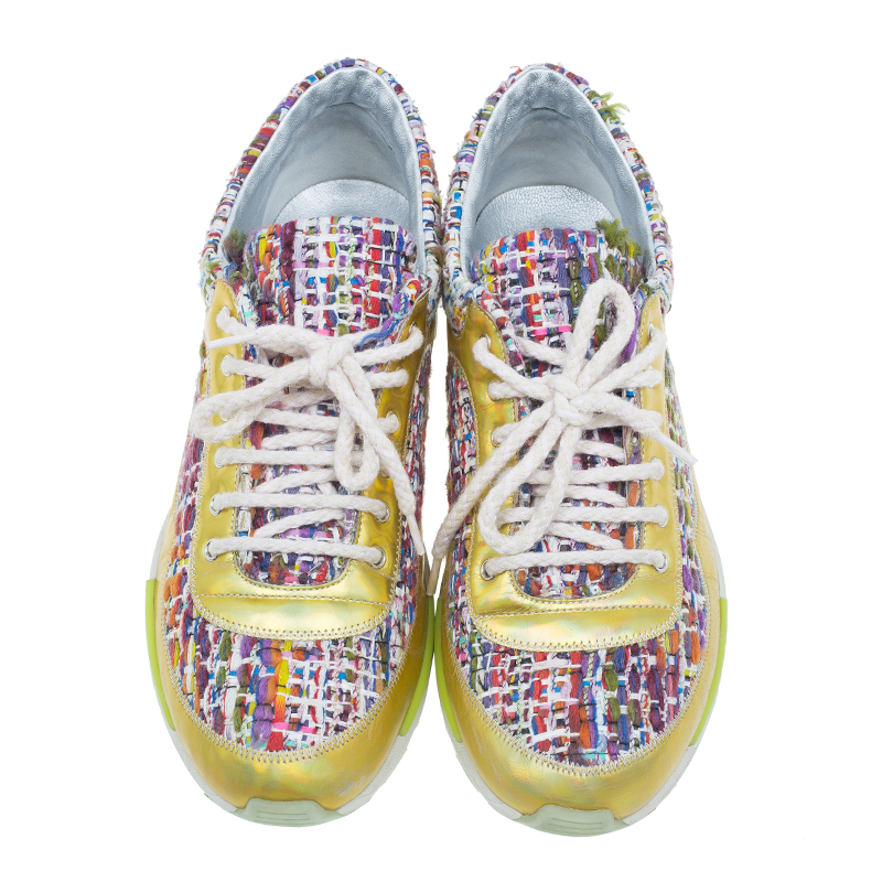 Chanel Multicolor Tweed and Leather Sneakers Size 38