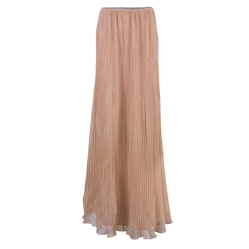 Chloe Sahara Pink Plisse Chiffon Maxi Skirt M