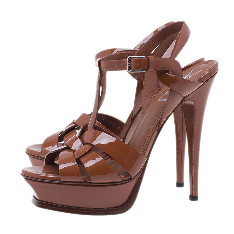 Saint Laurent Paris Brown Patent Tribute Platform Sandals Size 38