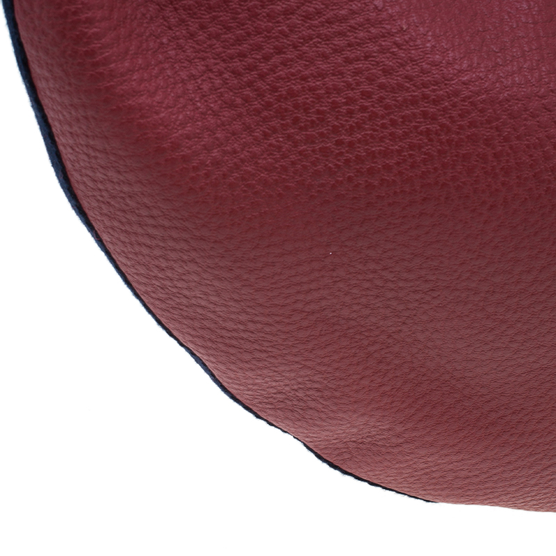 Gucci Red Pebbled Leather Half Moon Bamboo Ring Hobo Bag