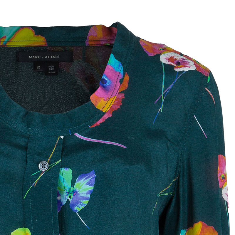 Marc Jacobs Green Flower Print Silk Top L