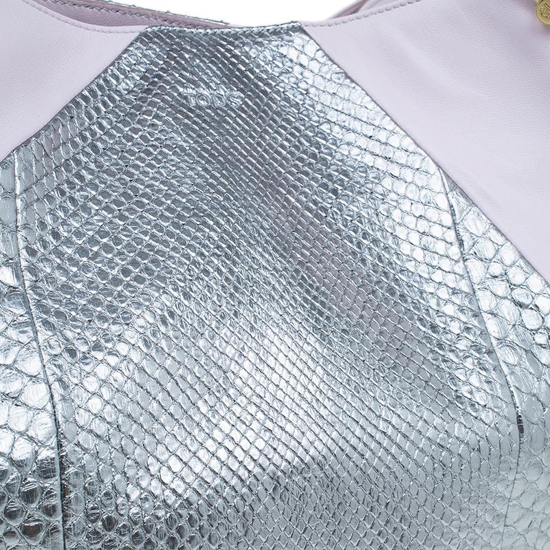 Tod's Pink/Silver Leather and Python Medium Horse Secchiello Tote
