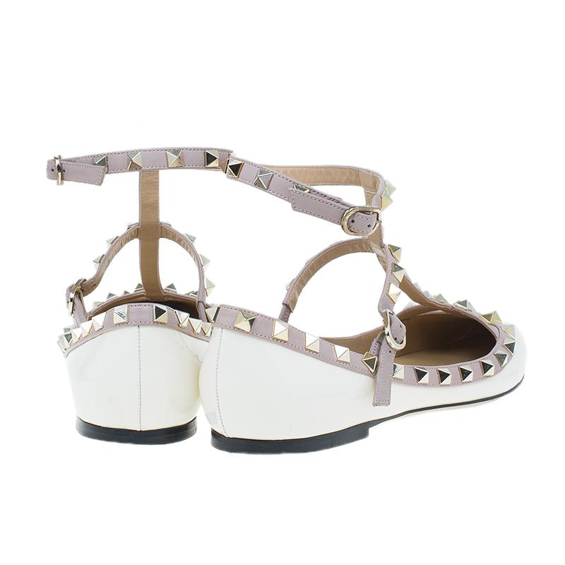 Valentino White Patent Rockstud Ballet Flats Size 39