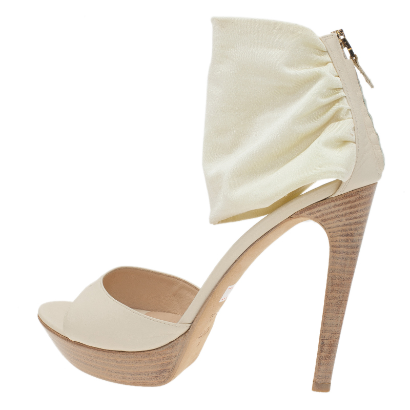 Fendi White Satin Ankle Strap Sandals Size 40