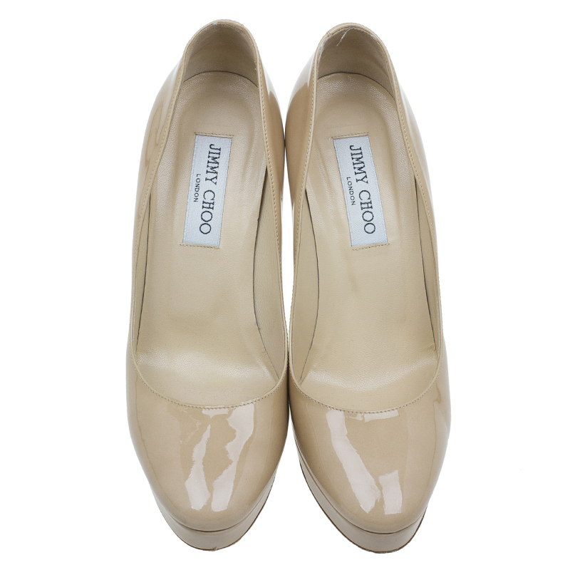 Jimmy Choo Nude Patent Platform Cosmic Pumps Size 38